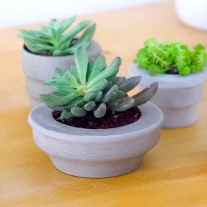FORMART小型真空成型機(桌上型真空吸塑機)製作的水泥多肉植物花器